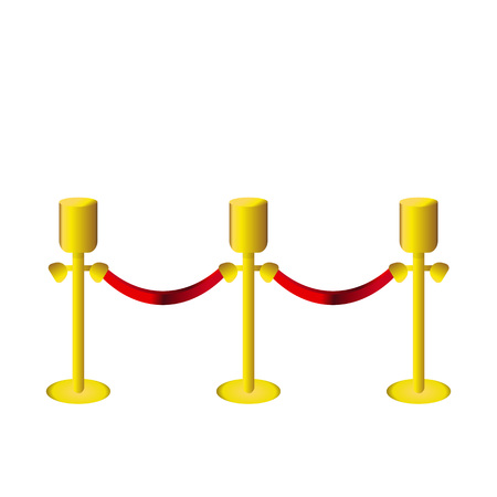 Vector Illustration. Golden fence post with red rope on white backgroung