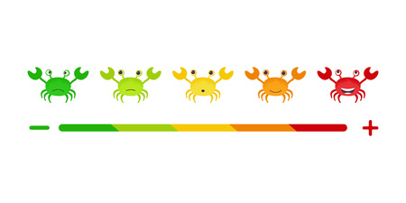 Feedback or rating scale with smiles crab representing various emotions arranged into horizontal row. Customers review and evaluation of service or good. vector illustration in cartoon style Illustration