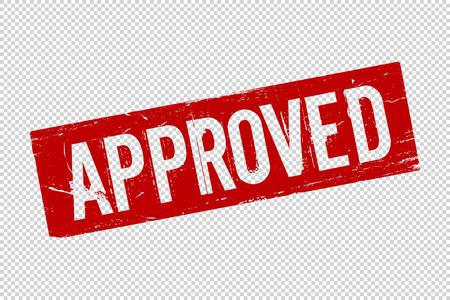 Grunge rot genehmigt quadratischen Siegelstempel auf transparentem Hintergrund. Retro-Symbol für Design. Erlaubniszeichen. Vektor-Illustration
