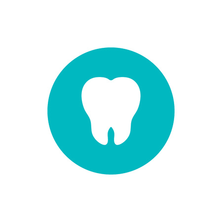Vector Illustration for Dentistry and Orthodontie.Tooth flat icon on green circle background