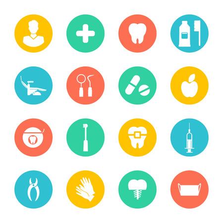 Ilustracja wektorowa. Białe dentystyczne płaskie ikony zestaw na kolorowe koła. Ilustracja wektorowa dla stomatologii i ortodoncji.