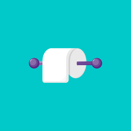 Vector Illustration. Toilet paper icon. Cartoon toilet paper roll for bathroom