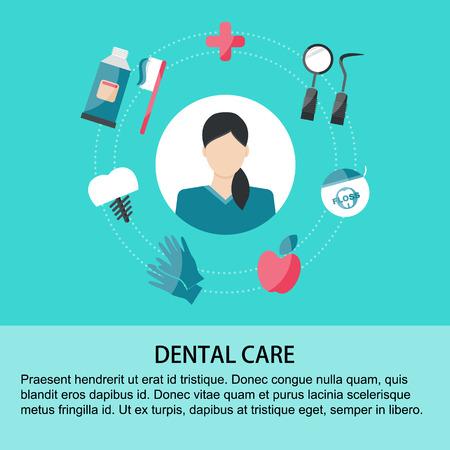 Illustrazione vettoriale Elementi di cure odontoiatriche su sfondo verde. sfondo