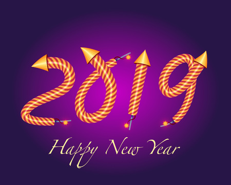 Vector Illustration. 2019  happy new year with a rocket fireworks effect