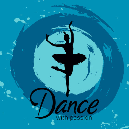 Vector Illustration. Dance with passion card with ballerina on blue splodges of paint Banque d'images - 126719066