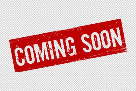 Grunge rouge à venir bientôt timbre joint en caoutchouc carré sur fond transparent. Icône rétro pour la conception. Bientôt signe. Illustration vectorielle