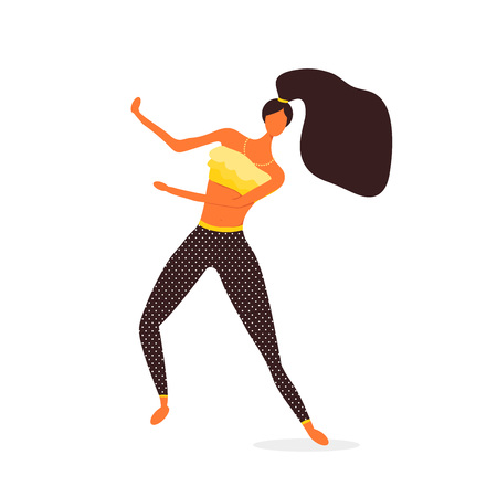 Woman character dancing in a modern flat style. Isolated Walking girl. Happy Woman. Teen dancing vector illustration