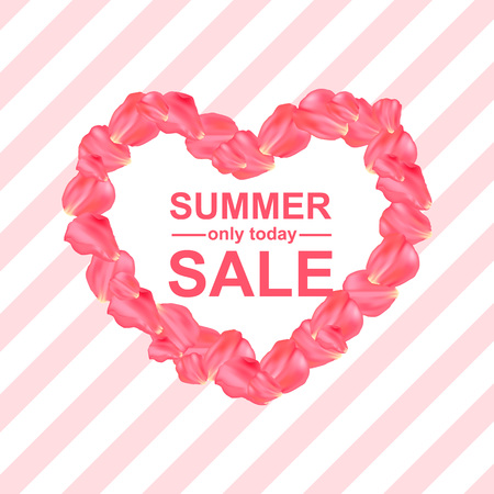 Vector Illustration. Summer sale poster with petal rose design. Realistic background with heart and roses petals on striped background Illustration
