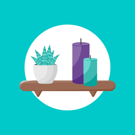 Vector Illustration. Shelf icon with plant and candles icon. Cartoon design on shelf