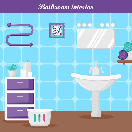 Vector Illustration. Bathroom interior in cartoon style. Template poster with bathroom elements fot information. Modern interior bathroom