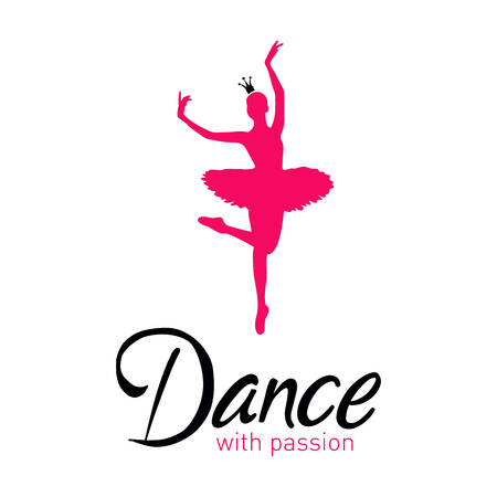 Vector Illustration. Dance with passion card with ballerina Banque d'images - 126719110