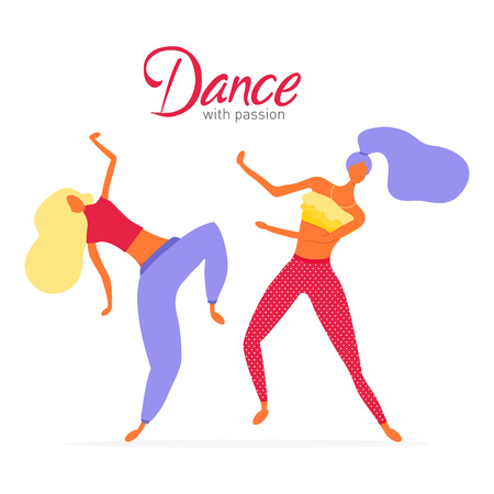 Dance with passion poster. Women character dancing in a modern flat style. Teens dancing vector illustration. Dance class concept