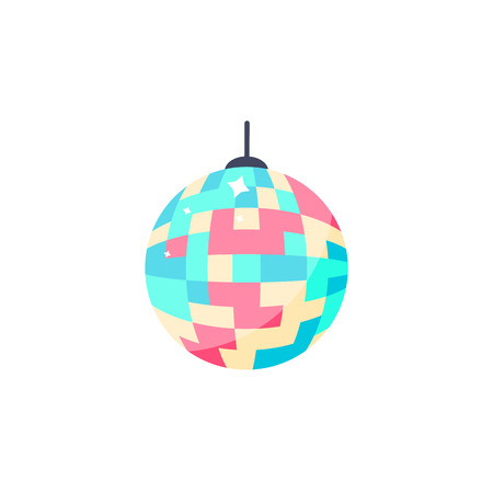 Vector Illustration. Disco ball icon. Isolated colorful ball for party in flat style Stock Illustratie
