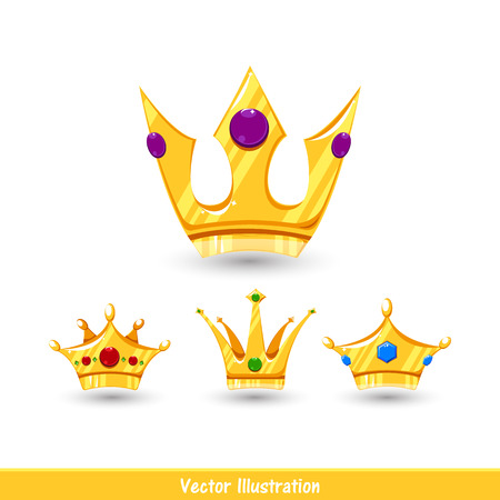 Vector Illustration. Cartoon crowns set with shadow