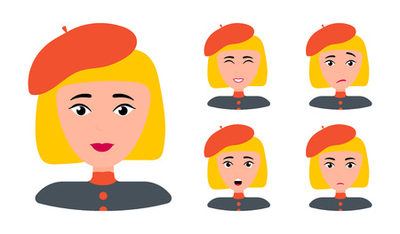 Beautiful woman portrait with different facial expressions set isolated. Blond frenchwoman in red hat. Female cartoon face Vectores