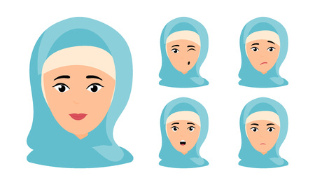Beautiful woman portrait with different facial expressions set isolated. Isolated vector illustration Muslim woman in cartoon style Illustration