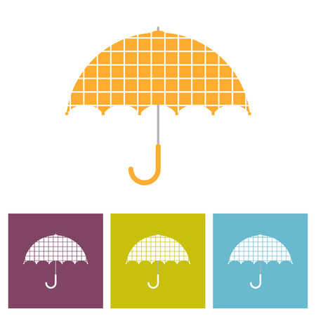 Vector Illustration. Set of umbrellas. Umbrella isolated on white background. Umbrella with decorative element cell wall
