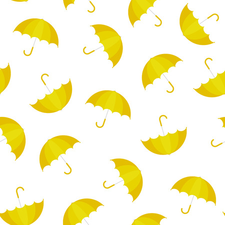 Vector Illustration. Yellow umbrella seamless pattern. Umbrella in cartoon style for design Vectores