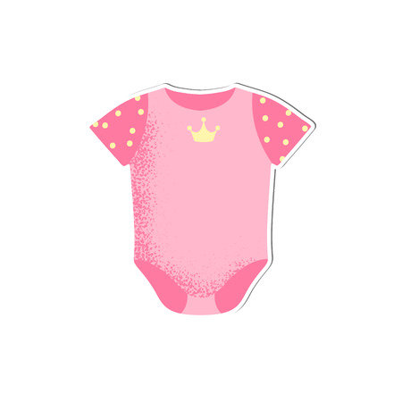 Baby onesie with crown for girl vector isolated. Cartoon style icon of wear for the happy child. Simple object for baby shower card. A simple accessory for kid comfort. Banque d'images - 124258641