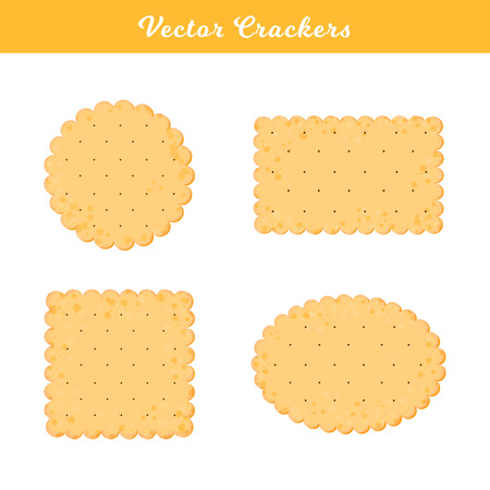 Vector Illustration. Set of health crackers. Isolated cookie