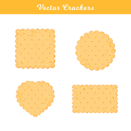 Vector Illustration. Set of health crackers. Isolated cookie in flat style