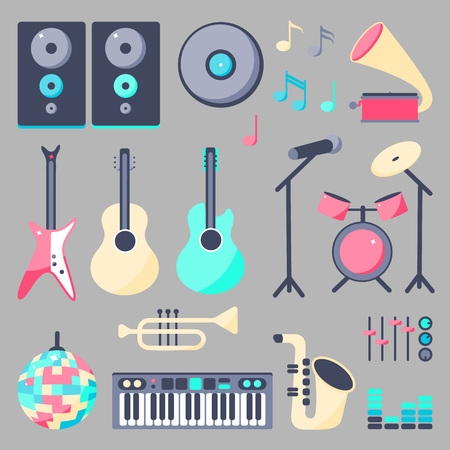Vector Illustration. Set of music instruments in flat style: loudspeaker, rock guitar, guitar, disco ball, microphone, piano, sexophone, sound disk, drum, trumpet, record player Stock Illustratie