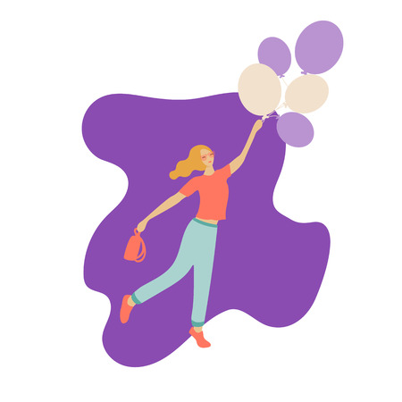 Vector illustration. Woman character standing in sun glasses in a modern flat style with balloons and the purse Illusztráció