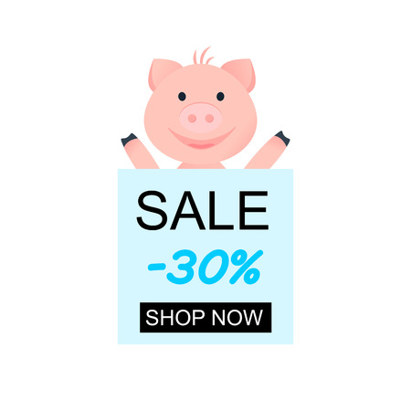 Vector Illustration. Cartoon happy pig. Background for special sale. Special offer 30 off with word Shop Now Illusztráció