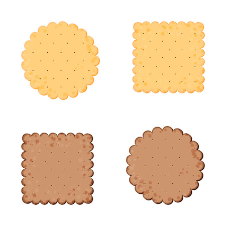 Vector Illustration. Health cracker. Chocolate cracker.  Isolated cookie: circle, square. Icon
