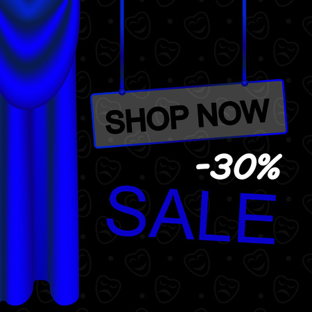 Vector Illustration. Blue luxury curtains and draperies. Sale card. Offer 30. Shop now button Illustration