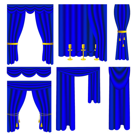 Set of blue luxury curtains and draperies on white background Illustration