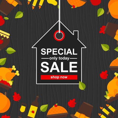 Vector Illustration. Poster with thanksgiving icons on wood background. Speacial Sale. Only today offer poster with button shop now in house icon. Background for design Illustration