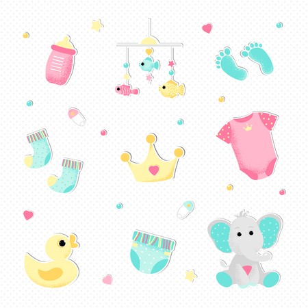 Set cute isolated icons in pink flat style for a girl baby shower. Simple elements for birthday card design.Vector illustration Illustration