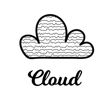 Vector Illustration. Isolated cartoon cloud. Cloud with dicoration element for background, poster, card