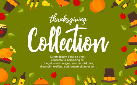 Vector Illustration. Poster with thanksgiving icons on green background. Thanksgiving elements collection with additional place for text. Background for design Illustration