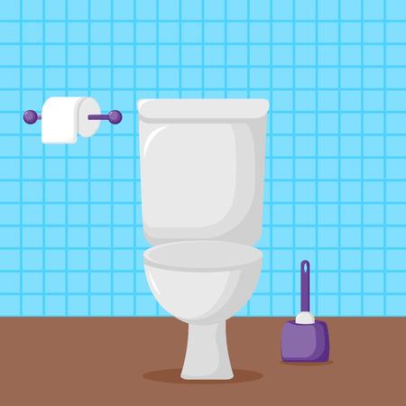 Illustrazione di vettore. Toilette in ceramica bianca, carta igienica e scopino. servizi igienici moderni in stile piatto con posto per il testo