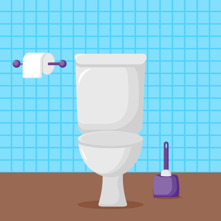Vector Illustration. White ceramics toilet, toilet paper and toilet brush. modern toilet set in flat style with place for text