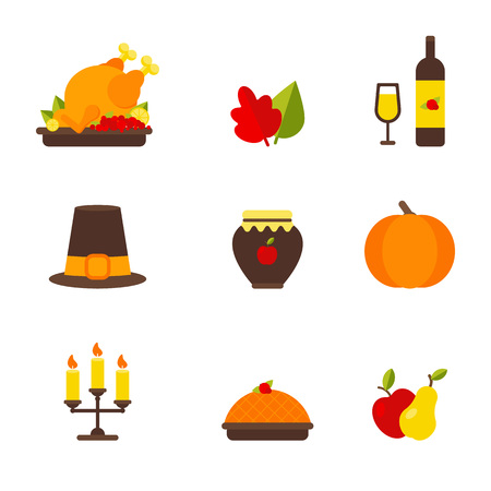 Vector Illustration. Set of thanksgiving elements: chicken, autumn leaf, wine bottle and wine glass, hat, apple jam, pumpkin, candle, pie, apple and pear Illustration