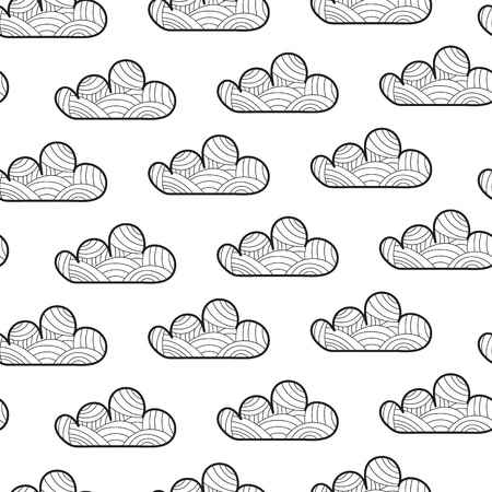 Vector Illustration. Seamless pattern with cartoon cloud. Cloud with dicoration elements for background, poster, card