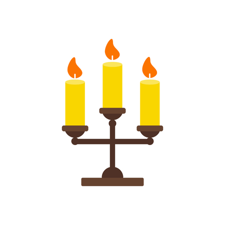 Vector Illustration. Triple candlestick with candles isolated icon. Flat style. Thanksgiving simbol