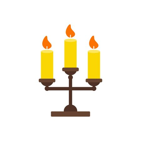 Vector Illustration. Triple candlestick with candles isolated icon. Flat style. Thanksgiving simbol 向量圖像