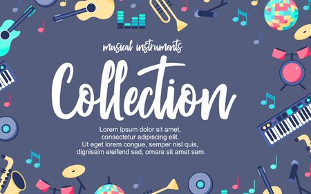 Vector Illustration. Poster with musical instruments on grey blue background. Musical intstuments collection with additional place for text. Background for design Illustration