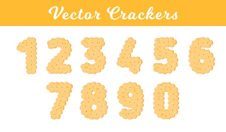 Vector Illustration. Health cracker. Isolated cookie: figure one, two, three, four, five, six, seven, eight, nine, ziro. Icon 1, 2, 3, 4, 5, 6, 7, 8, 9, 0.