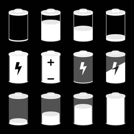Vector Illustration. Battery icons set