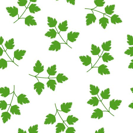 Seamless Green parsley pattern in flat style isolated on white background. Keto diet. Icon symbol food background. Vector illustration.