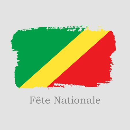 Vector Illustration. Hand draw Republic of the Congo flag. National Republic of the Congo banner for design on grey background. Independence Day. Fete Nationale
