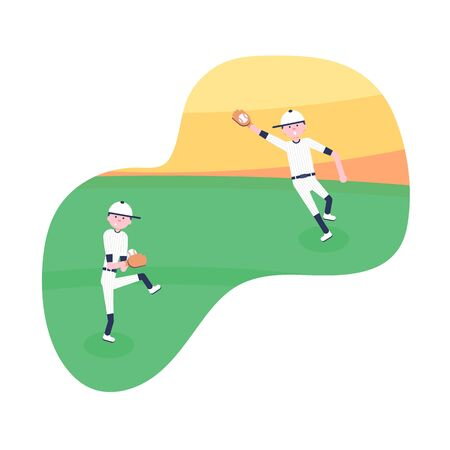 Vector Illustration. Set of baseball cartoon players: catcher, pitcher in modern flat style. Baseball equipment icon. Baseball characters team. Game moments