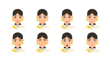 Face expressions of woman with dark hair. Different female emotions set. Attractive flat character. Vector illustration isolated. Hindu woman Illustration