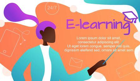 Illustration vectorielle. Apprentissage en ligne des langues étrangères, enseignante afro-américaine pour gadgets apprend les langues, étude en ligne via le site Web, communication avec les étrangers via Internet Vecteurs