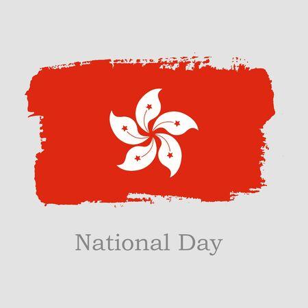 Vector Illustration. Hand draw Hong Kong flag. National Hong Kong banner for design on grey background. National Day